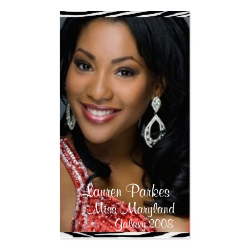 Red Zebra Print Pageant Business Card (Vertical)
