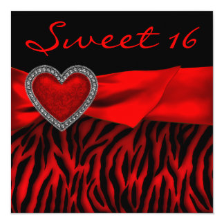 Red Zebra Red Heart Sweet 16 Party Card