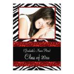 Red Zebra Sparkle Girls Graduation Party Announcement