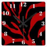 Red Zebra Stripe Animal Print Clocks