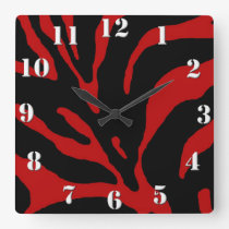 Red Zebra Stripe Animal Print Square Wall Clock