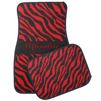 Red Zebra Stripe | Personalize Car Mat