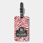Red Zebra Stripes Chalkboard Monogram Tags For Luggage