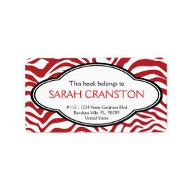Red  Zebra Stripes Pattern Book plate Personalized Address Label
