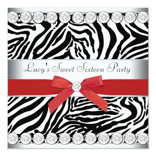 Red Zebra Sweet 16 Birthday Party Card