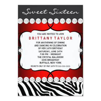 Red Zebra Sweet Sixteen Birthday Party Card