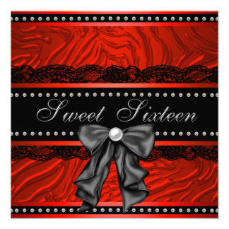 Red Zebra Sweet Sixteen Birthday Party Personalized Announcements