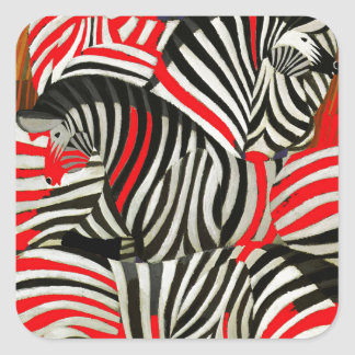 Red Zebras Square Sticker