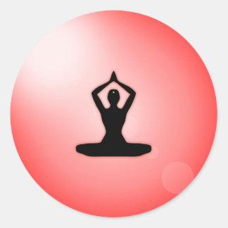 Red Zen Meditation Classic Round Sticker
