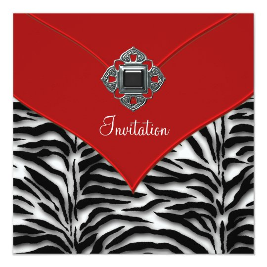 Red Zerbra Party Card