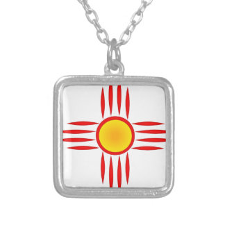 Red Zia Sun God Silver Plated Necklace