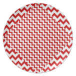 Red Zig-Zag on White Party Plates