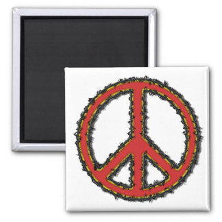 Red Zig Zag Peace Sign 2 Inch Square Magnet