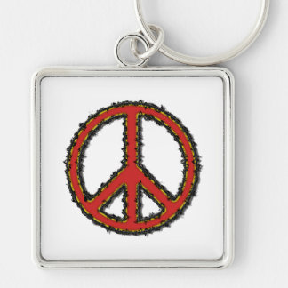 Red Zig Zag Peace Sign Keychain