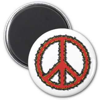 Red Zig Zag Peace Sign Magnet