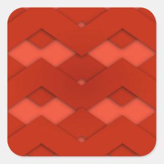 Red Zig Zags Design Square Sticker