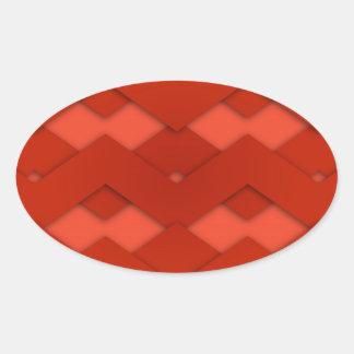 Red Zig Zags Design Oval Sticker