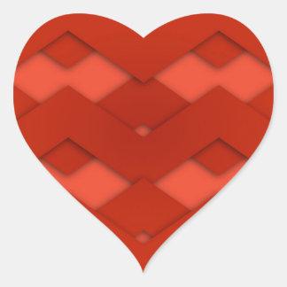 Red Zig Zags Design Heart Sticker
