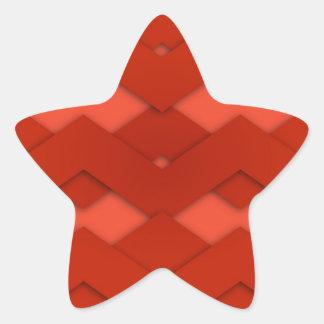 Red Zig Zags Design Star Sticker