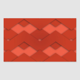 Red Zig Zags Design Rectangular Sticker