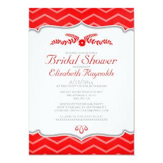 Red Zigzag Bridal Shower Invitations Custom Invite