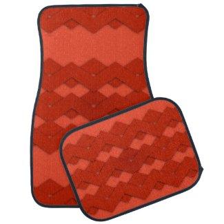 Red Zigzag Design Car Mat