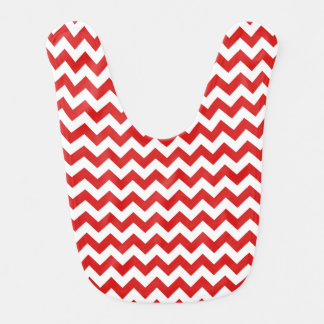 Red Zigzag Stripes Chevron Pattern Bib