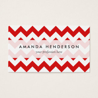 Red Zigzag Stripes Chevron Pattern Business Card