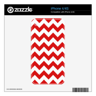 Red Zigzag Stripes Chevron Pattern Decals For iPhone 4