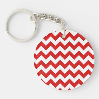 Red Zigzag Stripes Chevron Pattern Keychain