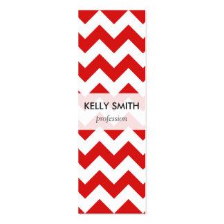 Red Zigzag Stripes Chevron Pattern Mini Business Card