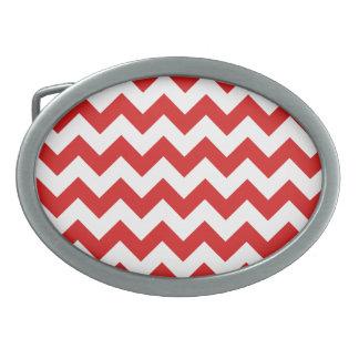 Red Zigzag Stripes Chevron Pattern Oval Belt Buckle