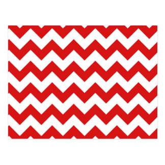 Red Zigzag Stripes Chevron Pattern Postcard