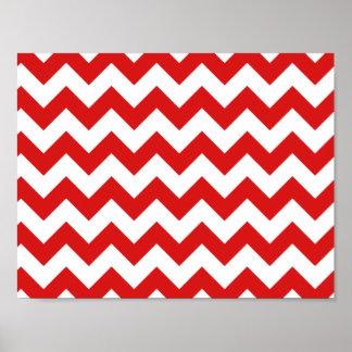 Red Zigzag Stripes Chevron Pattern Poster