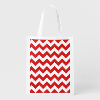 Red Zigzag Stripes Chevron Pattern Reusable Grocery Bag