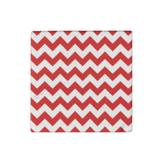 Red Zigzag Stripes Chevron Pattern Stone Magnet