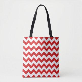 Red Zigzag Stripes Chevron Pattern Tote Bag