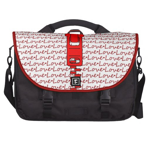 Red Zipper with Love Commuter Bags