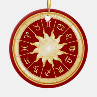Red Zodiac Wheel 1 Ceramic Ornament