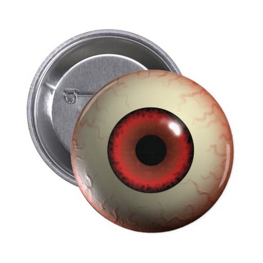 Red Zombie Eye-ball Badge Buttons