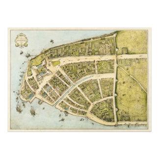 Redacción del plan New Amsterdam de Castello en 16 Impresiones Fotograficas