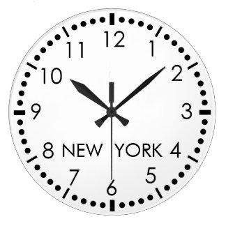 Redacción simple de Nueva York Reloj Redondo Grande