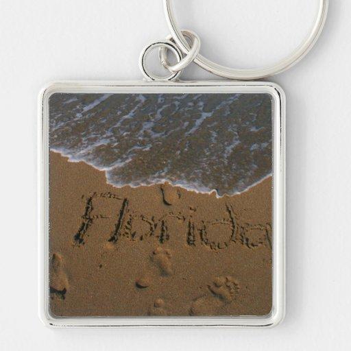 Redacte la Florida en arena de la playa con venir  Llavero Personalizado