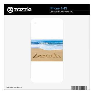 Redacte la playa en costa arenosa con el mar azul skins para eliPhone 4