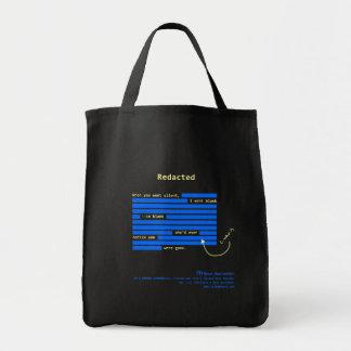 Redacted [dark] tote bag