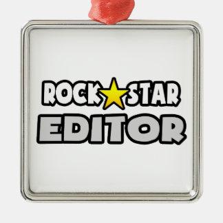 Redactor de la estrella del rock adorno cuadrado plateado