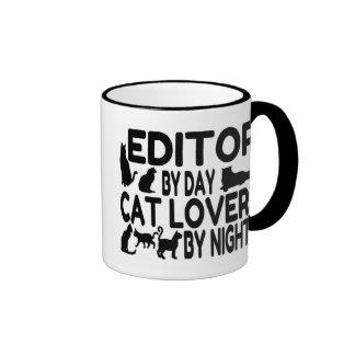 Redactor del amante del gato taza de dos colores
