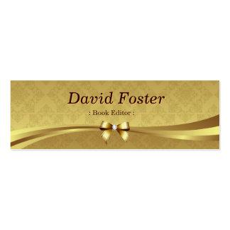 Redactor del libro - damasco brillante del oro tarjetas de visita mini