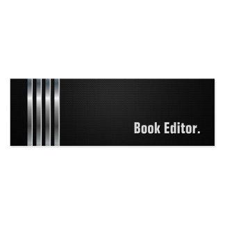 Redactor del libro - rayas de plata negras tarjetas de visita mini