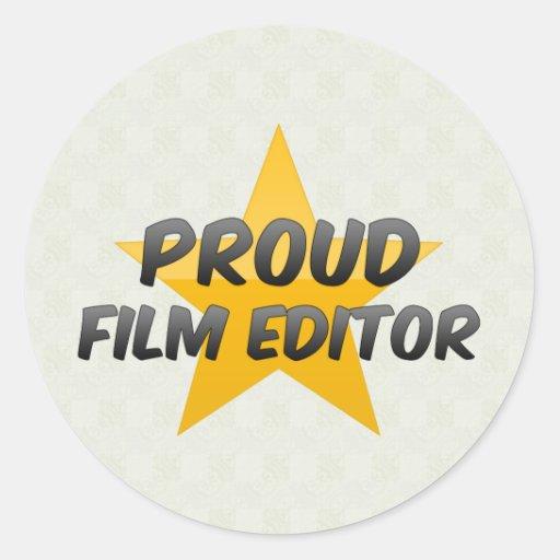 Redactor orgulloso de la película pegatina redonda